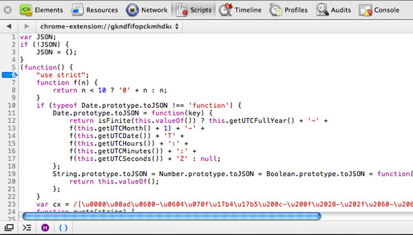 Minified JavaScript in Chrome Developer Tools With Formatting